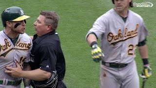 OAK@KC: Ejections ensue when Lawrie almost hit