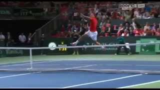 Roger Federer failed smash Davis Cup 2015 Switzerland Vs Netherlands