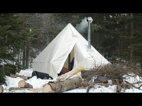 Beginners Winter Camp in Canada with Canvas Hot Tent-Part 1