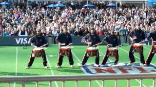 Chicago Bears Drumline entertain the crowd in London, UK.