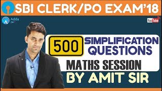 SBI PO/CLERK | 500 Simplification Questions | Maths| Amit sir thumbnail