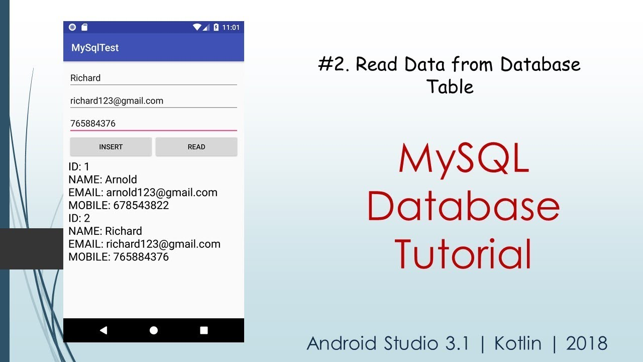 #2  Retrieve Data from Database Table | MySQL Database Tutorial | Android  Studio 3 1 | 2018