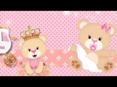 Convite Chá de Bebê Ursinha Princesa da Milena (M)