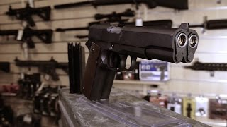 we double barrel 1911a1 gas blow back airsoft 6mm bb pistol overview css
