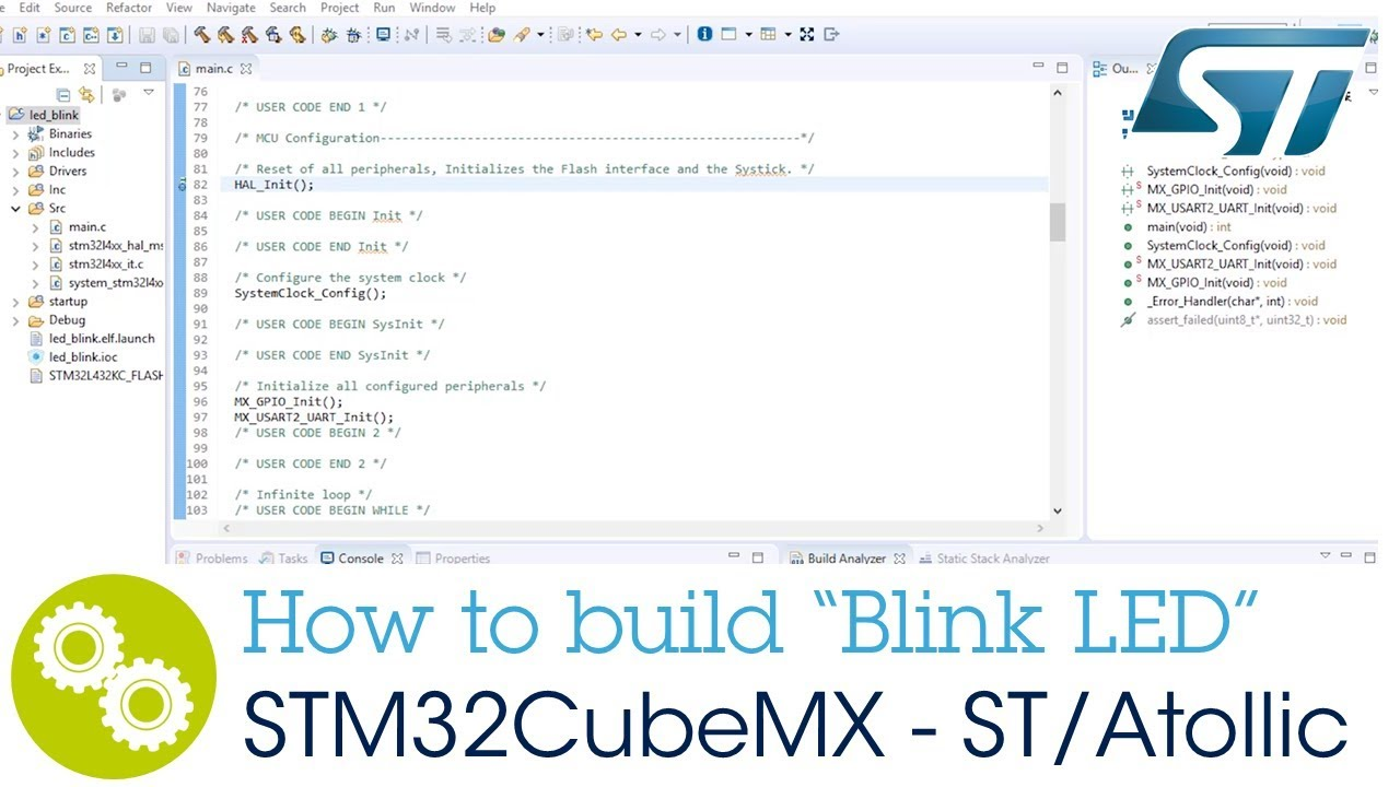 "How to build a ""Blink LED"" project from STM32CubeMX for ST/Atollic TrueSTUDIO® for STM32™"