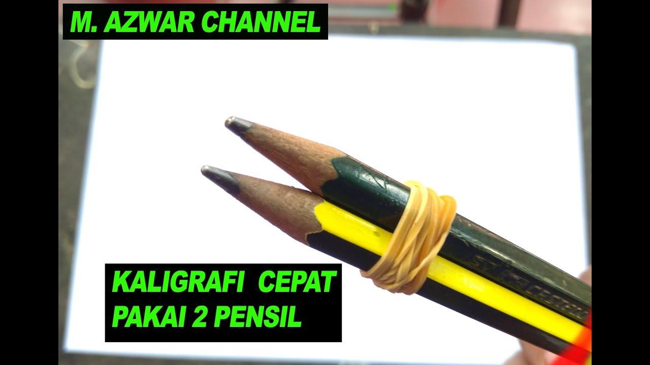 Keren Cara Membuat Kaligrafi 2 Pensil Youtube