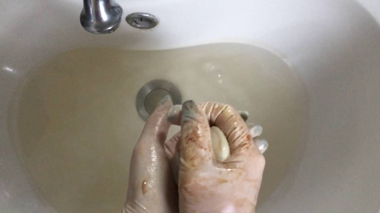 Black gloves with nails - Latex Gloves Cleaning Hands Water Soapy Black Nails Asmr
