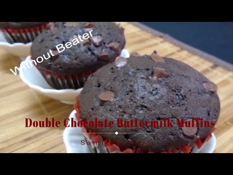 Double Chocolate Buttermilk Muffins/Chocolate Chips Cupcake Recipe/ Best Ever Chocolate Muffins *SRG