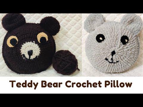 Crochet Brown Bear Pillow/ Teddy bear / brown bear pillow / brown bear toy  / Bear nursery decor / stuffed bear with sleepy eyes | Crochet teddy bear, Crochet  teddy, Crochet pillow pattern | 360x480