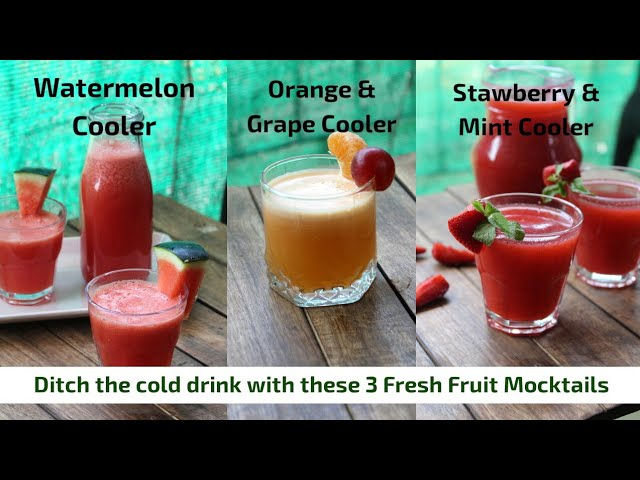 3 Fresh Fruit Mocktails | Watermelon cooler, orange and grape cooler, strawberry and mint cooler