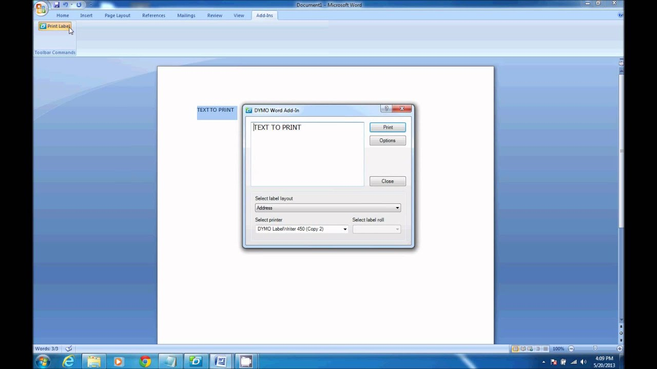 How to print from dymo label software in microsoft word for Dymo label templates for word