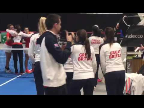 The moment GB beat Croatia to reach the Fed Cup World Group 2 Play-Offs