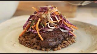 Seared rib of beef, zataar, red cabbage, honey & mustard slaw