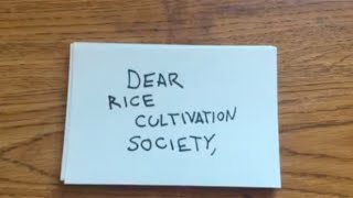 Dear Rice Cultivation Society