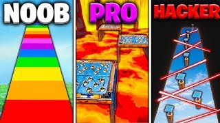 HACKER vs PRO vs NOOB desafio DeathRun no FORTNITE CREATIVE!