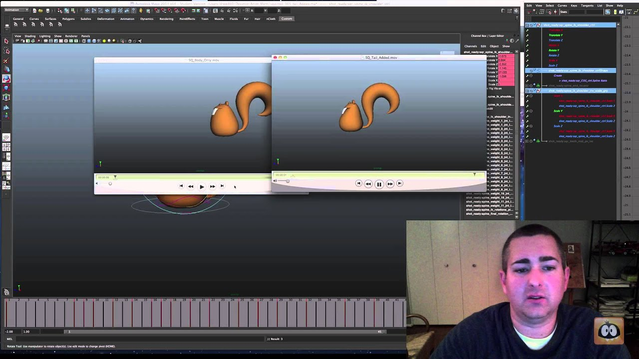 Animation Tutorial: Free Squirrels Rig - Adding Overlap To Tail