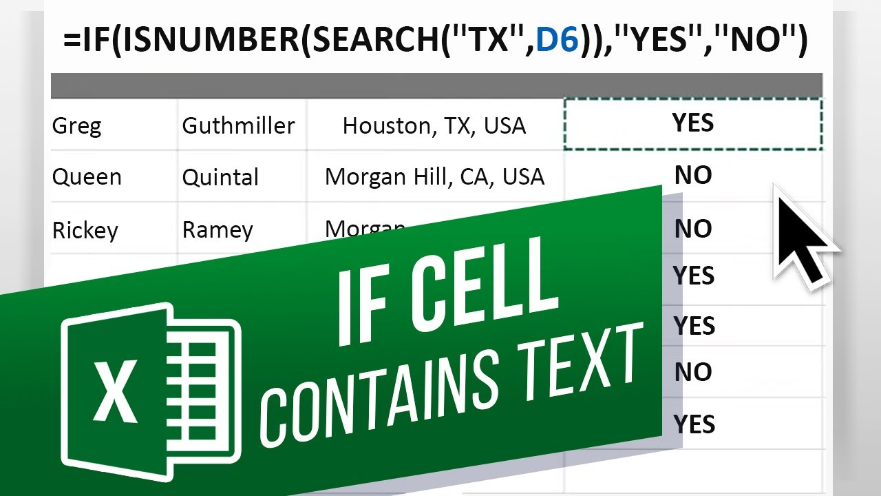 How to Check If Cell Contains Specific Text in Excel   Adding the ISNUMBER  Function