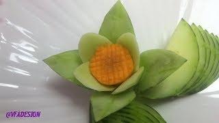 Art In Cucumber & Carrot Rose Flower Carving Garnish | Fruit & Vegetable Carving Designs.