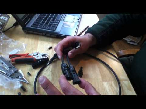 Installing MC4 solar industry standard cable connectors using common tools