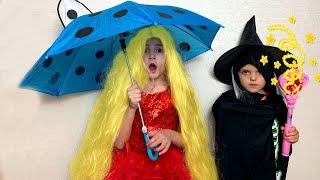 Masha and colorful hair and magic wand