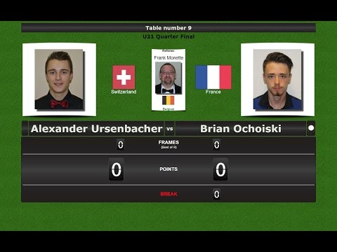 Snooker U21 1/4 Final : Alexander Ursenbacher vs Brian Ochoiski