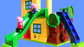 Peppa Pig Playhouse Lego Blocks Playground Park with See-Saw & Slide House Set by DisneyCollector