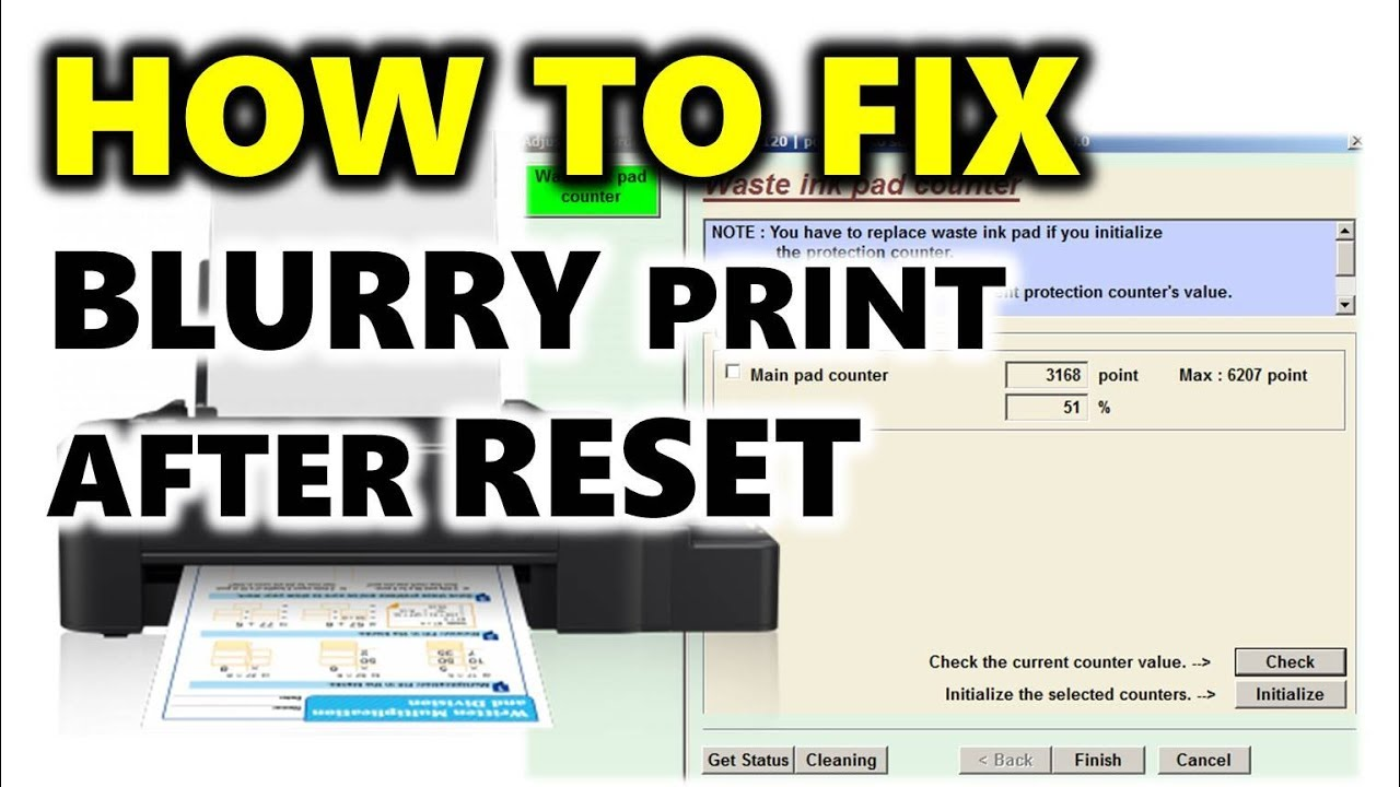 EPSON L120 ISSUE FIXED! (Blurry or double print after waste inkpad counter  reset)