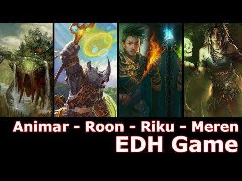 Animar vs Roon vs Riku vs Meren EDH / CMDR game play for Magic: The Gathering
