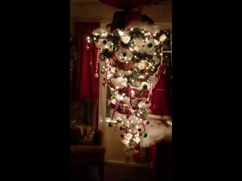 Upside down, rotating  Christmas tree!