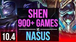 SHEN vs NASUS (TOP)   900+ games, KDA 9/2/15, Dominating   EUW Master   v10.4