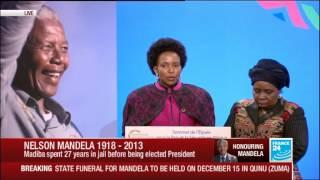 Maite Nkoana-Mashabane, South African minister, pays tribute to Nelson Mandela