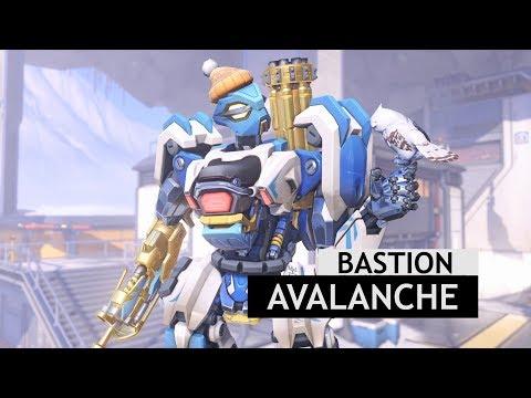 Overwatch: Avalanche Bastion Skin In-game + Gold Gun [Winter Wonderland 2017]