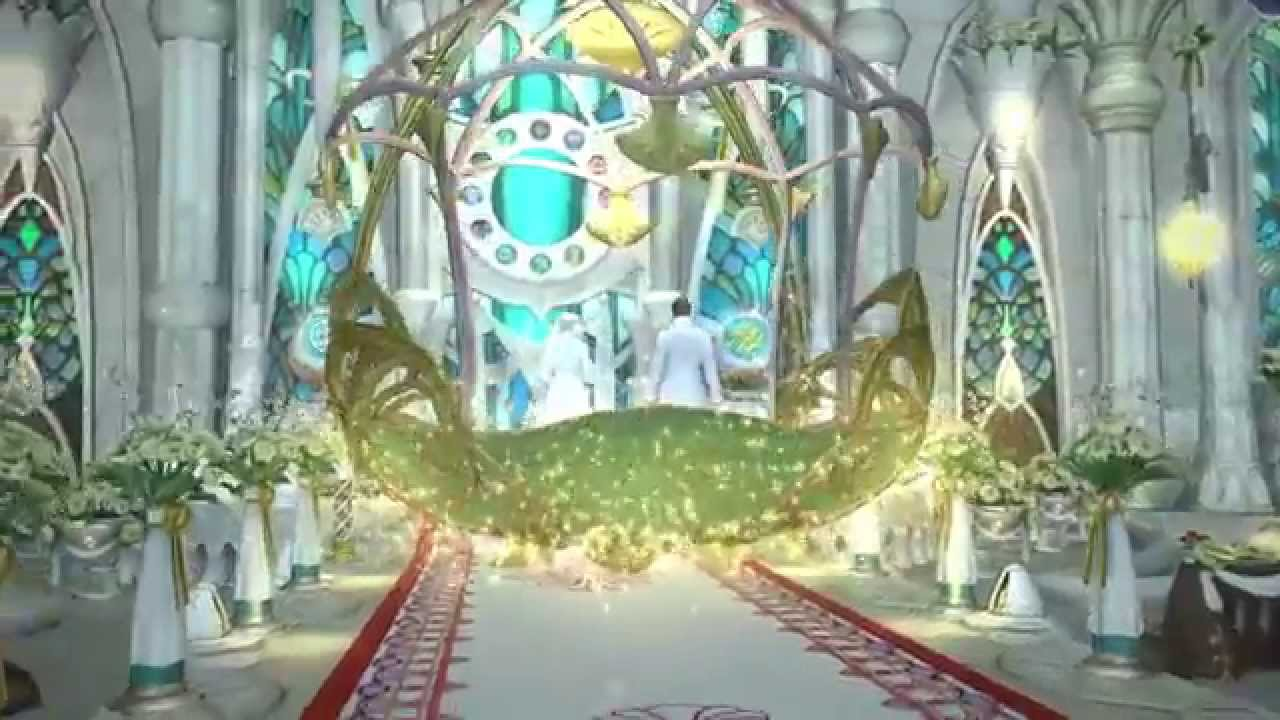 FF14 Wedding Ceremony Procession Cutscene (Eternal Bonding) 結婚式 エターナルバンド  入場シーン 試写会 プレビュー , YouTube