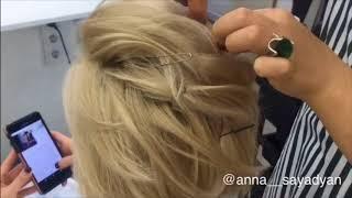 Текстурная укладка на коротких волосах HAIRVIDEO Анна Саядян