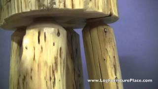 Cedar Lake Slab Stool | Log Bar Stool