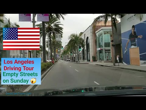 Los Angeles Driving Tour 🚘: Empty Streets on Sunday Morning 😲
