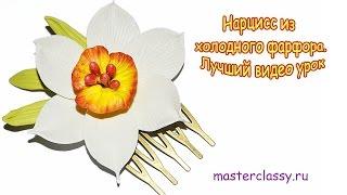 Нарцисс из холодного фарфора. Цветы из холодного фарфора(Этот мастер-класс для тех, кто хочет научиться создавать цветок нарцисса из холодного фарфора. Цветы из..., 2015-10-24T09:59:45.000Z)