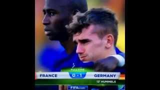 Antoine Griezmann en pleur a la fin du match Allemagne-France