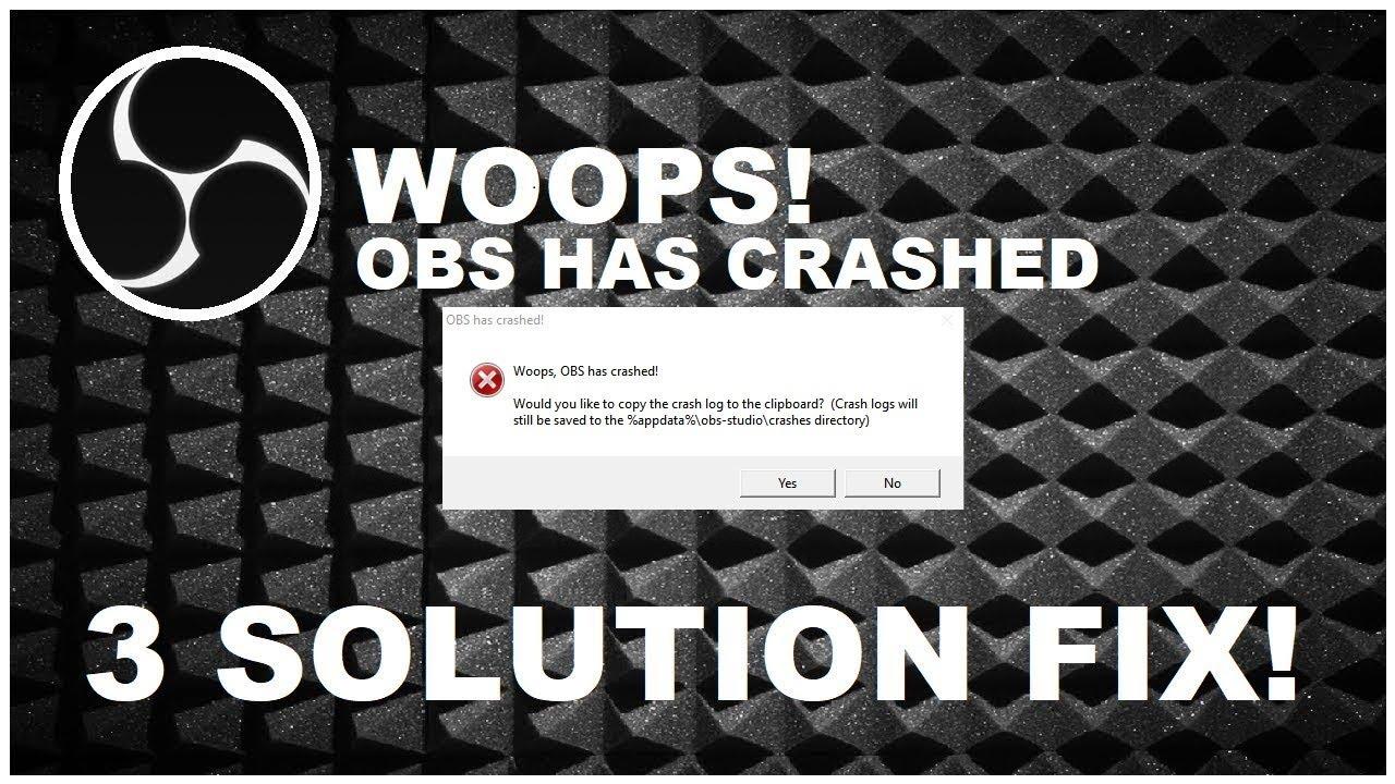 obs studio crash on startup