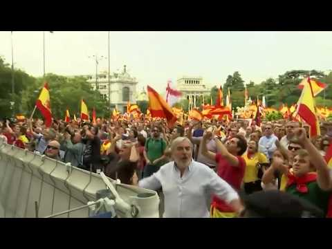 Demonstrators rally in Madrid against planned independence referendum