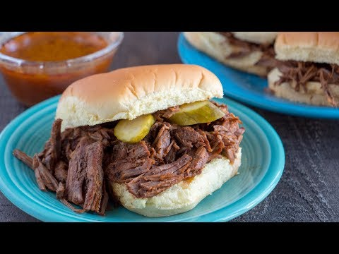 Pressure Cooker Barbecued Beef Sandwiches