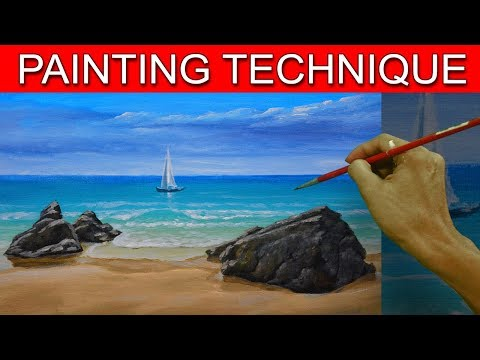 How to Paint a Simple Seascape in Basic Step by Step Acrylic Full Painting Tutorial by JM Lisondra