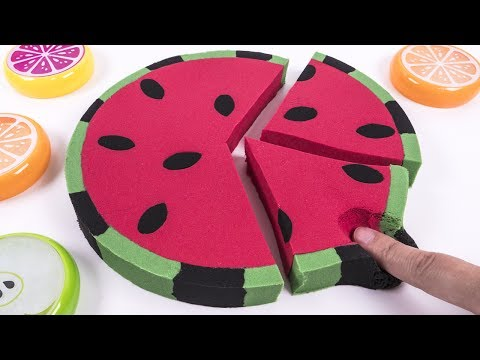 DIY How to Make Kinetic Sand Water Melon Cak Skwooshi Mad Mattr Learn Colors for Kids