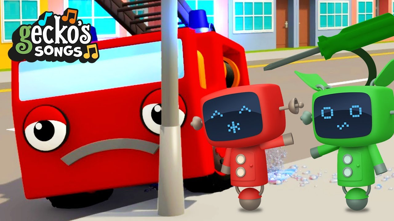 5 Little Fire Trucks|Gecko's Garage|Songs and Nursery Rhymes | Trucks For Kids|Accidents Happen!