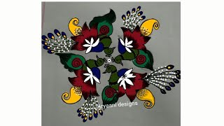 Simple Rangoli designs ..peacocks..7 to 1 dots