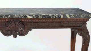 Marble Top Mahogany Console Table - Www.curatorseye.com- The Curator's Eye