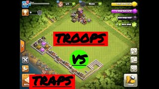 All traps vs all troops!! Who will survive?!! Clash of clans