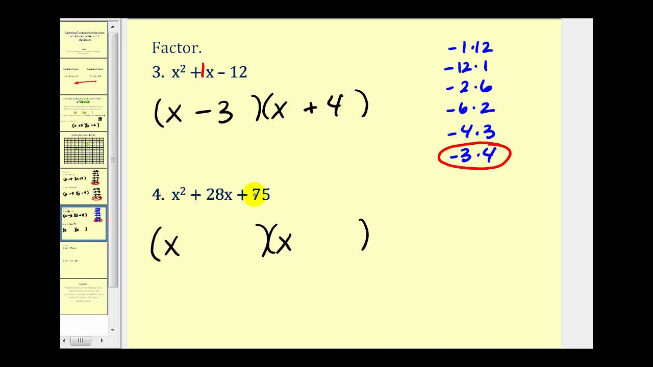 worksheet Factoring Trinomials A 1 factoring a trinomial with leading coefficient of 1 the basics youtube