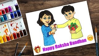 How to Draw Raksha Bandhan for beginners - Step by Step