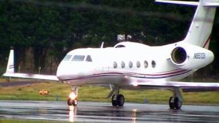 Gulfstream GIV-X Private Jet Takeoff In Wet Conditions